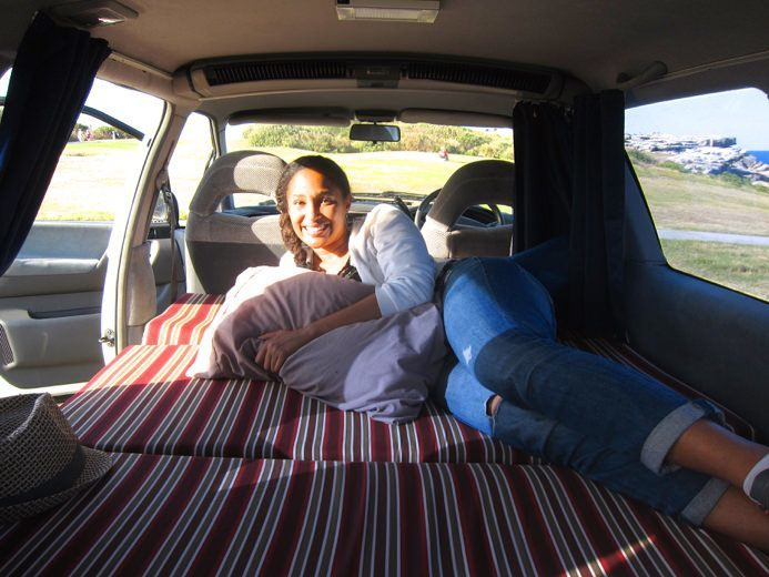 bed in the back of a van
