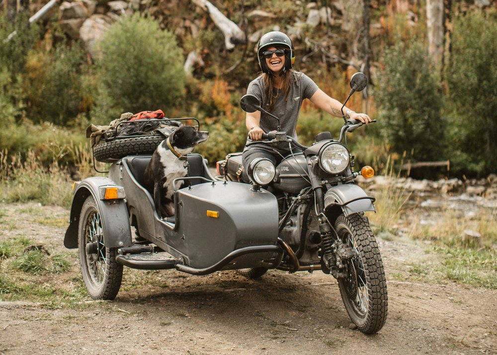 Ural motorcycle babe and dog