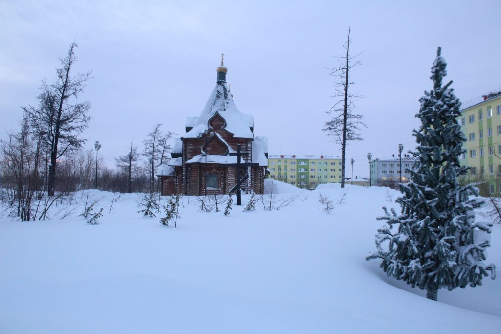 Russian church winter Norilsk Russia