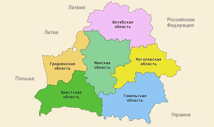 subjects of Belarus map